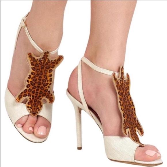5bbf15c42058 Charlotte Olympia Shoes   Ivory Canvas Leopard Heel 55 5   Poshmark